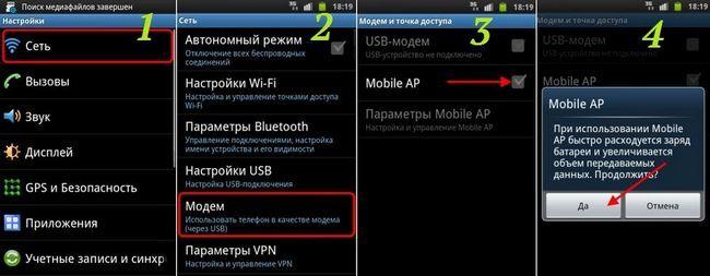 точка доступу Wi-Fi на Android 2.3