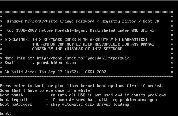 Покрокова інструкція по скиданню пароля за допомогою цього завантажувального диска
