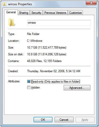 Розмір папки winsxs в windows 7. Займає дисковий простір