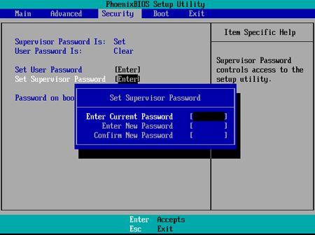 Set Supervisor Password